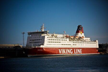 HELSINKI, FINLAND - OCTOBER 29, 2008: Ship in a sea in a city