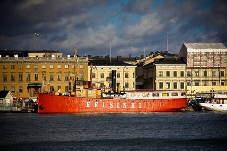 HELSINKI, FINLAND - OCTOBER 29, 2008: Ship in a sea in a city
