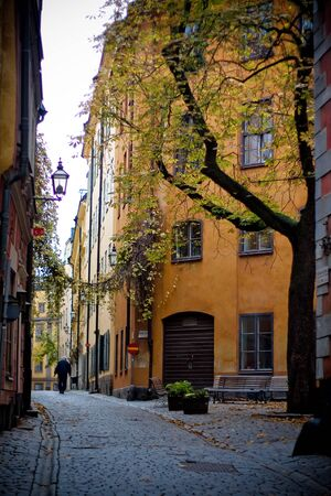 STOCKHOLM, SWEDEN - NOVEMBER 1, 2008: City street in Stockholm Sweden at cloudy day Editöryel