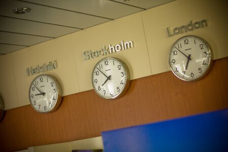 STOCKHOLM, SWEDEN - NOVEMBER 1, 2008: Clock on a wall at reception
