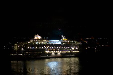STOCKHOLM, SWEDEN - NOVEMBER 1, 2008: Cruise ship in the passenger terminal at night Editöryel