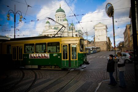 HELSINKI, FINLAND - OCTOBER 29, 2008: Public transport, retro tram in Helsinki city