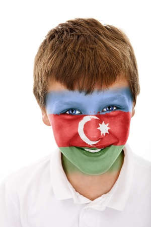 Young boy with azerbaijan flag painted on his face Stock Photo