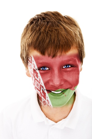 Young boy with belarus flag painted on his face