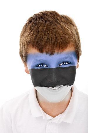 Young boy with estonia flag painted on his face photo