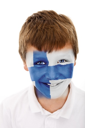 finland flag: Young boy with  finland flag painted on his face
