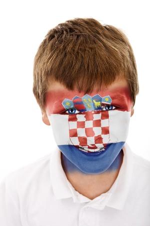 Jonge jongen met kroatië vlag geschilderd op zijn gezicht Stockfoto