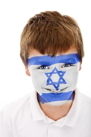 Jonge jongen met israel vlag geschilderd op zijn gezicht Stockfoto
