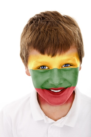Young boy with lithuania flag painted on his face