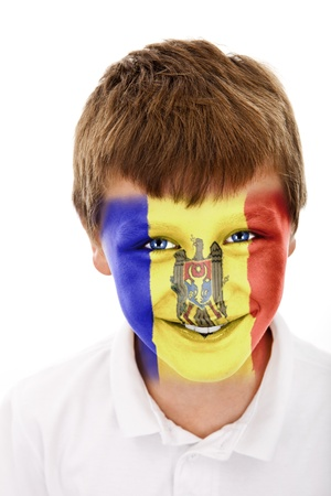 Young boy with ..... (tu nazwa państwa) flag painted on his face