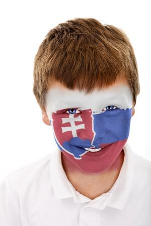 Jonge jongen met slowakije vlag geschilderd op zijn gezicht Stockfoto
