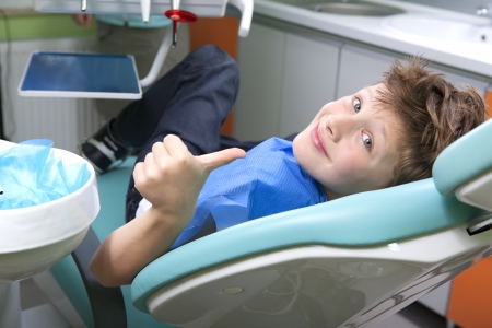 oral care: Young boy in a dental surgery