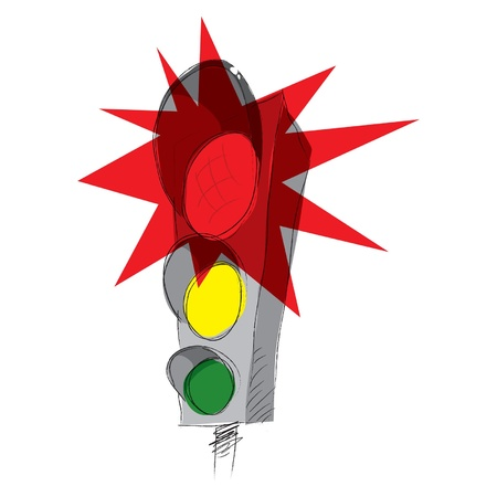 Red traffic lights, vector illustration Vector