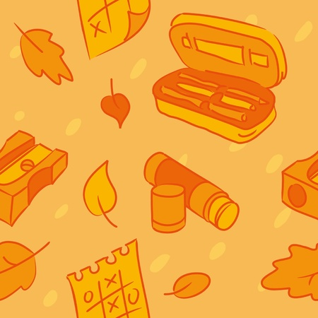 pencil case: School seamless pattern, vector illustration