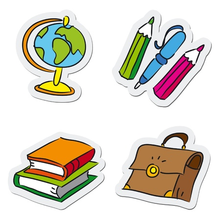 Objets scolaires et de l'éducation, illustration vectorielle