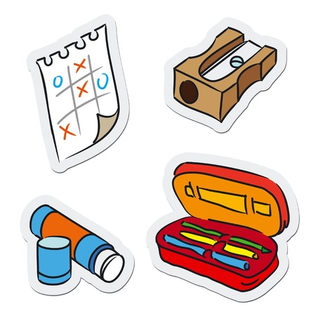 sacapuntas: Escuela y educación objetos, ilustración vectorial