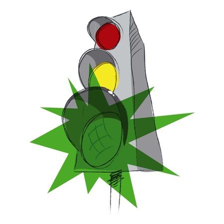 Groene verkeerslichten, vectorillustratie Stock Illustratie