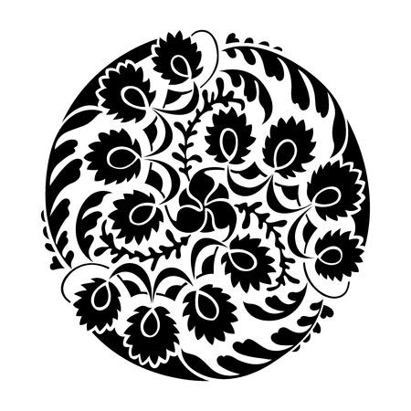 Black and white round vignette, silhouette of thistle, vector illustration Illustration