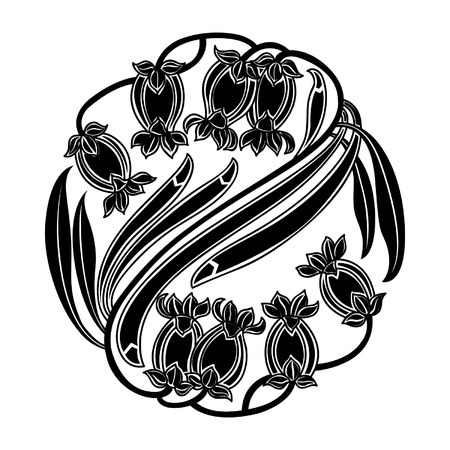 Floral round pattern in black and white, vector illustration