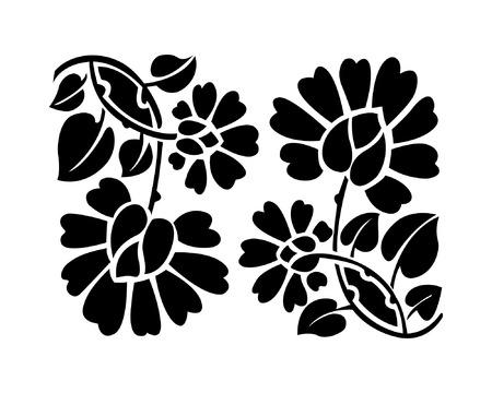 textile: Black flower pattern, vector illustration