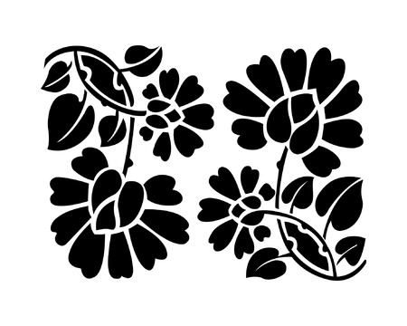 Black flower pattern, vector illustration