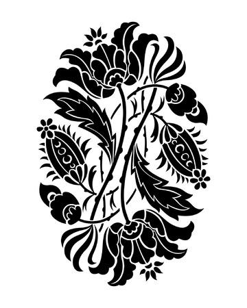 Black and white flower silhouette, vector illustration