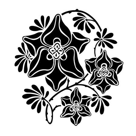 Black and white round vignette in modernist style, vector illustration