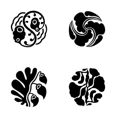 modernist: Set of black round pattern isolated on white background, vector illustration