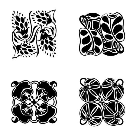 modernist: Floral ornament set, design element isolated on white background, vector illustration
