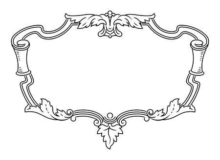 gable: Vector outline frame, elegant vignette, design element and page decoration Illustration