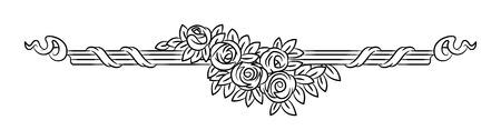 Vintage Vector Vignette With Rose Flowers Outline Elegant Border