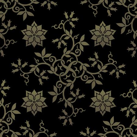 ornate background: Golden seamless pattern. Floral elements, ornate background. Editable vector file. Illustration