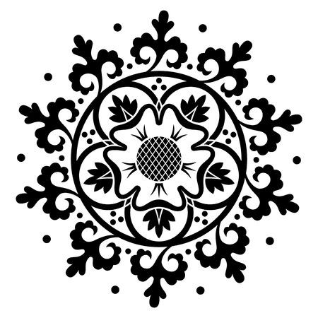 Ornamental round pattern. Black circle background. Vector illustration Vector