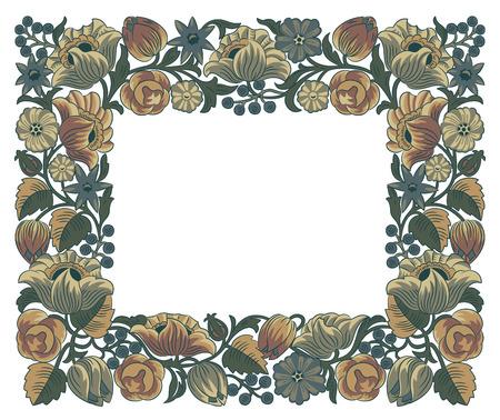 elaboration: Vector floral frame, detailed elaboration