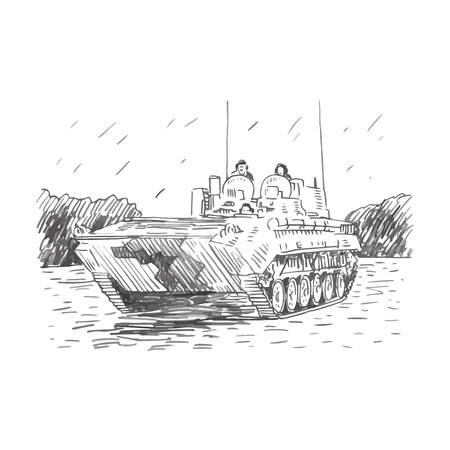 maneuverability: The mobile reconnaissance point. Russian BMP. Vector freehand pencil sketch. Illustration