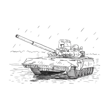 maneuverability: Vector freehand sketch tank