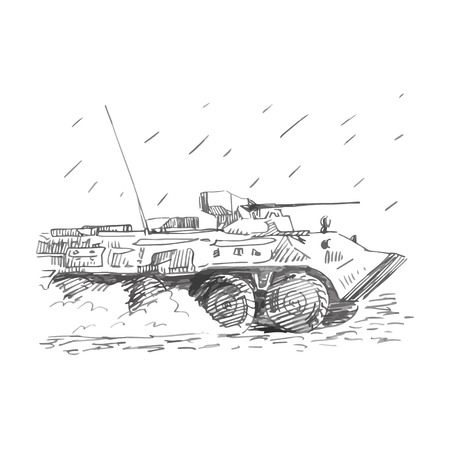 battlefield: An armoured personnel carrier. Vector freehand pencil sketch.