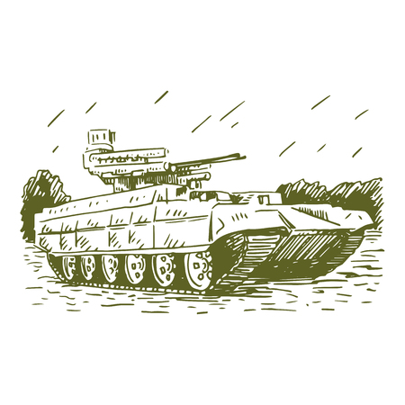 turret: Fire support combat vehicle tanks. Vector freehand pencil sketch.