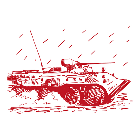 armoured: An armoured personnel carrier. Vector freehand pencil sketch.