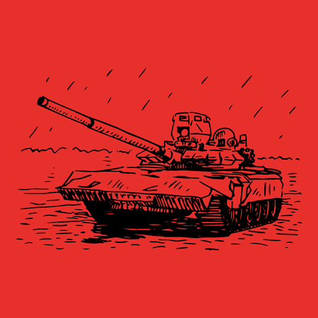 maneuverability: Vector freehand sketch. Russian tank T-72. Illustration