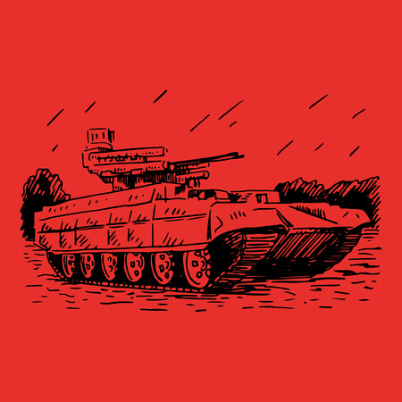 maneuverability: Fire support combat vehicle tanks. Vector freehand pencil sketch.