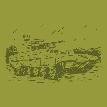 vehicle combat: Fire support combat vehicle tanks. Vector freehand pencil sketch.