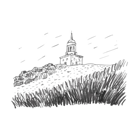 atop: The watchtower atop the hill, a symbol of Nizhny Tagil, Russia. Vector freehand pencil sketch.