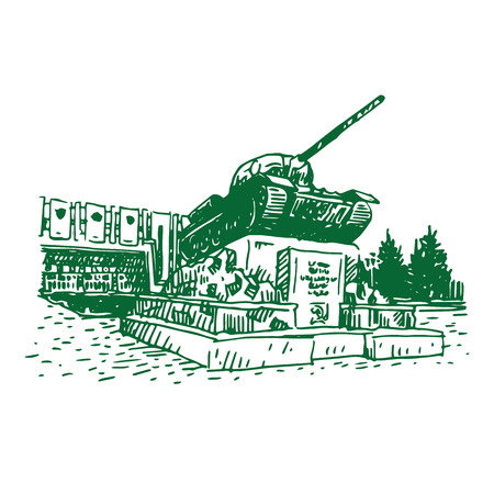 t34: Monument to the tank in Nizhny Tagil, Russia. Vector sketch.