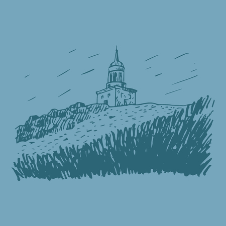 The watchtower atop the hill, a symbol of Nizhny Tagil, Russia. Vector freehand pencil sketch.