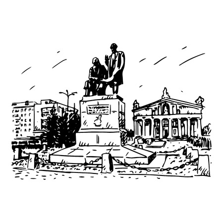 inventor: Monument to the father and son Cherepanov, inventors of the first Russian locomotive at the Theater Square in Nizhny Tagil, Russia. Vector pencil sketch by hand.