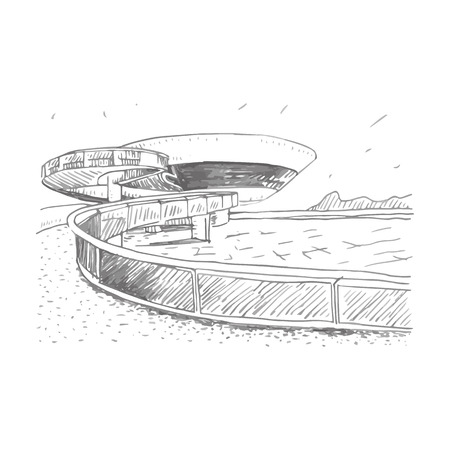 art museum: Contemporary Art Museum, Brasil. Vector freehand sketch. Illustration