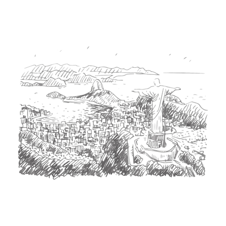 overlooking: A panoramic view of the Rio de Janeiro, Brazil. Statue of Christ the Redeemer at the top of Corcovado Mountain. Vector freehand sketch.