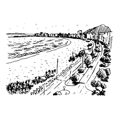 janeiro: Copacabana Beach, Rio de Janeiro, Brazil. Vector freehand sketch. Illustration