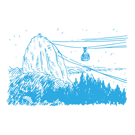 janeiro: Cable car line from Sugarloaf Mountain, Rio de Janeiro, Brazil. Vector freehand sketch. Illustration